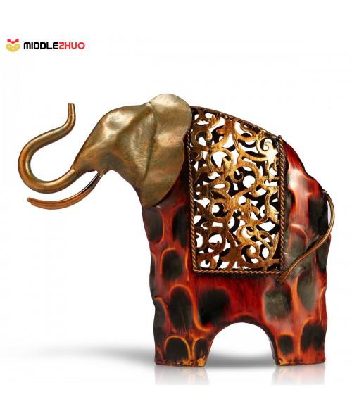 Carved iron art elephant Metal sculpture Home Decoration