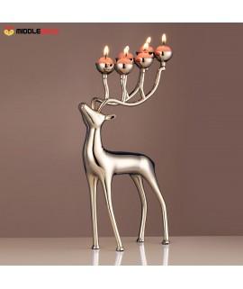Silver Elk Candlestick
