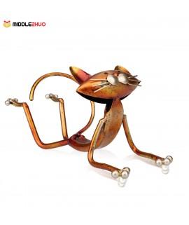 Yoga cat Wine holder Wine shelf Metal sculpture Practical sculpture Home decoration Interior decoration Crafts