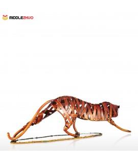 Metal Weaving Leopard  Iron Sculpture Home Decoration Crafts Animal Sculpture