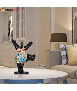 Gym Fat Woman  Fiberglass Sculpture Exaggerative Modeling Decorativee Ornament