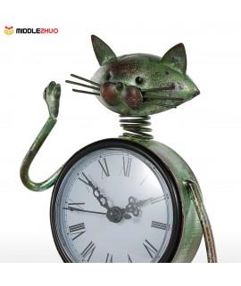 Cat Clock Handmade Vintage Metal Iron Cat Figurine Mute Table Clock Practical Clock One AA Battery