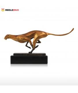 Leopard Bronze Sculpture Modern Art Craft Home Desk Decor
