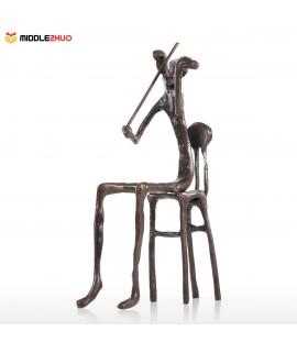 Violin playing Modern Performance Bronze Sculpture Metal Sculpture Home Decor Art Gift