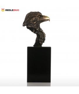 Marble Base Eagle Hawk Handmade Bronze Sculpture Modern Art Home Decor