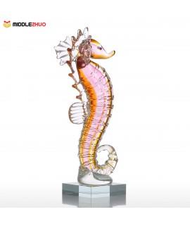 Seahorse Glass Ornament Animal Figurine Handblown Home Decor