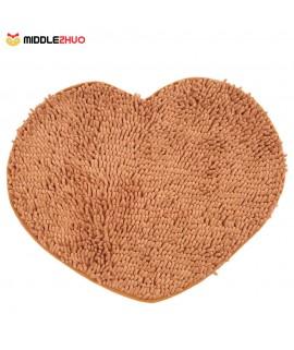 50*60cm Super Soft Chenille Yarn Heart Shape Footcloth Highly Absorbent Carpet Non-skid Door Mat Ground Mat Floor Mat for Indoor Entranceway