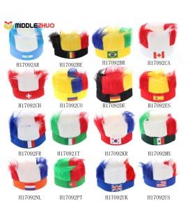 Anself America Flag Football Soccer Fans Wig Head Cap European Cup FIFA World Cup Sports Carnival Festival Cosplay Costume