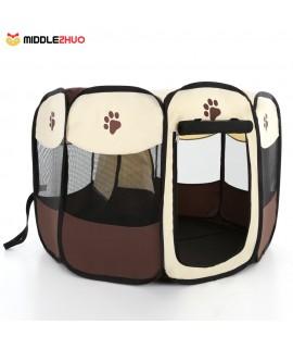 Portable Folding Indoor Outdoor Pet Puppy Dog Cat Play Pen Tent Pop-up Fabric Zipped Pet Rabbit Pig Exercise Pen Playpen Fence