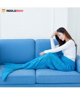 "Fashion Beautiful Knitted Mermaid Tail Blanket Crochet Sleeping Bag 70.9 ""℅ 35.4"" Sofa Living Room for All Seasons Adult"