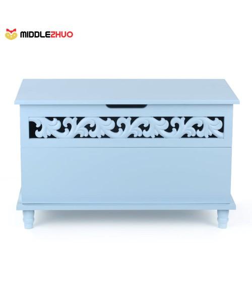 Modern Rectangle Storage Chest Large Toy Blanket Storage Bench Ottoman White/Blue