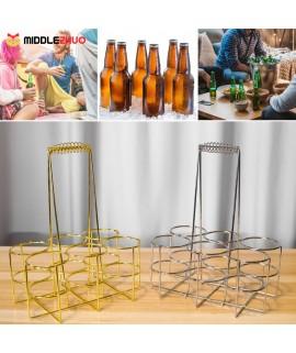 6 Bottle Beer Holder Party Beer Basket Rack Wine Caddy Stand