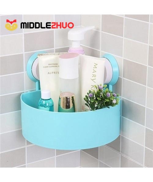 Plastic Suction Cup Bathroom Kitchen Corner Storage Rack Organizer Shower Shelf Random Holes